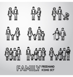 Multigenerational family freehand icons set with vector