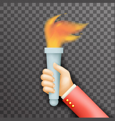 transperent background victory flame symbol hand vector image