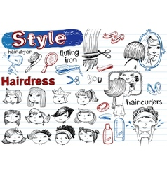 Beauty salon doodle set modern funky vector