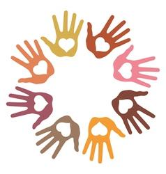 Circle of 8 loving hand prints vector image vector image