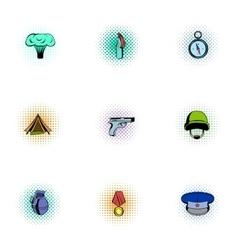Equipment for war icons set pop-art style vector