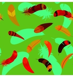 feathers in seamless cartoon pattern vector image vector image