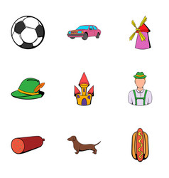 germany symbol icons set cartoon style vector image vector image