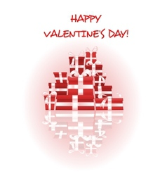 Happy Valentines Day card with stack of gifts vector image