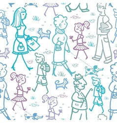 People walking seamless pattern background and vector image vector image
