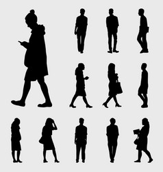 black walk silhouettes vector image vector image