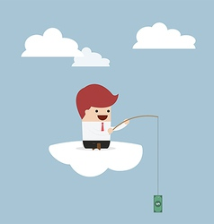 Businessman sitting on cloud with fish hook and do vector image vector image