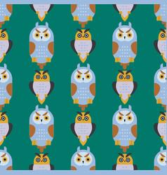 Cartoon owl bird cute character seamless pattern vector