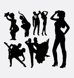 Dancer traditional and modern style silhouette vector image