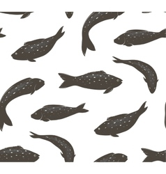 Fish Black and White Seamless Pattern vector image vector image