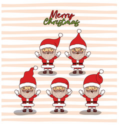 merry christmas card with set of santa claus with vector image