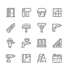Set line icons of repair vector image