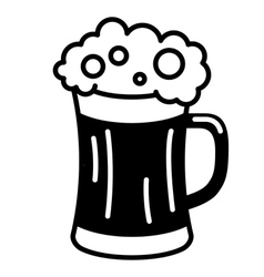 black beer icon glass filled with beer vector image