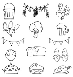 Doodle flat hand draw thanksgiving set vector