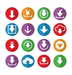 Downloading icons in color circles vector image vector image
