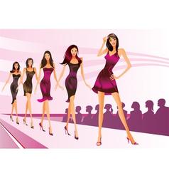 Fashion models represent new clothes vector image