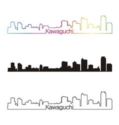 Kawaguchi skyline linear style with rainbow vector image vector image
