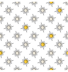 Seamless pattern with yellow sun vector