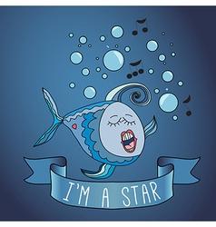 Sing fish ribbon and slogan vector