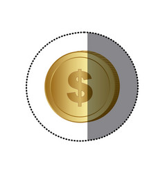 sticker colorful coin with dollar symbol vector image vector image