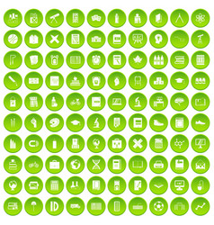 100 school icons set green circle vector image vector image