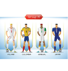 2018 soccer or football team uniform group h vector