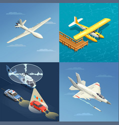 Airplanes helicopters design concept vector