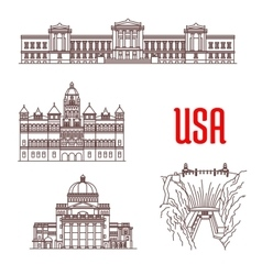 American landmarks and sightseeings icons vector