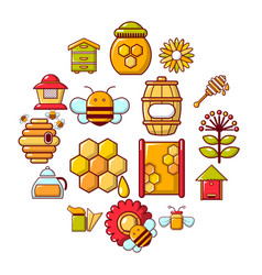 apiary honey icons set cartoon style vector image