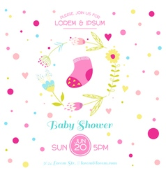 Baby girl shower or arrival card - with cute socks vector
