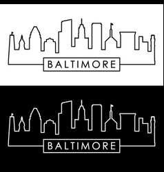 Baltimore skyline linear style editable file vector