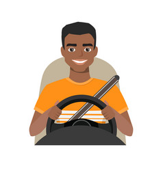 Black african american man driving a car man vector