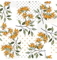 blooming wild floral memphis print trendy polka vector image
