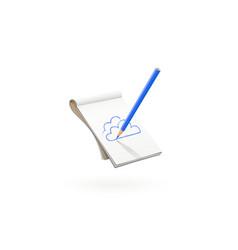 blue pencil draw cloud at art vector image
