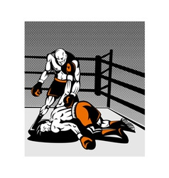 boxer connecting knockout punch vector image