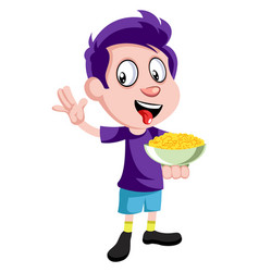 boy with snacks on white background vector image