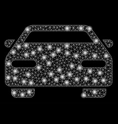 bright mesh network car with light spots vector image