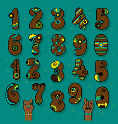 Brown numbers with bright decor vector
