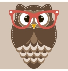 Brown owl with glasses vector