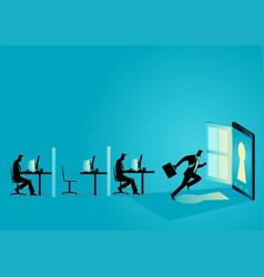 businessman running towards a smart phone vector image