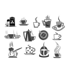cafe cafeteria coffee cups and beans icons vector image