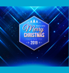 card with blue hexagonal merry christmas and vector image