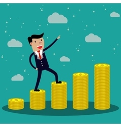 Cartoon Businessman step on stack of gold coin vector image