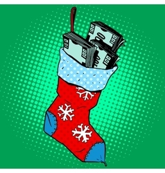 Christmas sock with money vector