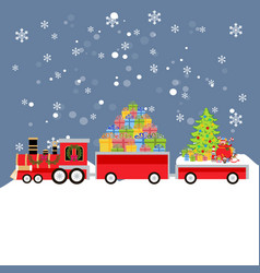 christmas train with gifts vector image