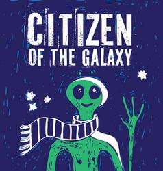 citizen galaxy alien stars green people vector image