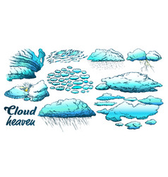 Clouds in different weather set color vector