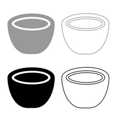 Coconut icon set grey black color vector
