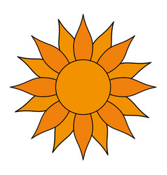 Color image sun in flower figure vector