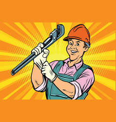 construction worker with adjustable wrench vector image